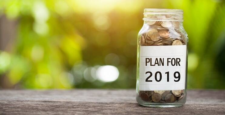 Citizens Advice Budgeting Tool, coin jar with label saying Plan for 2019