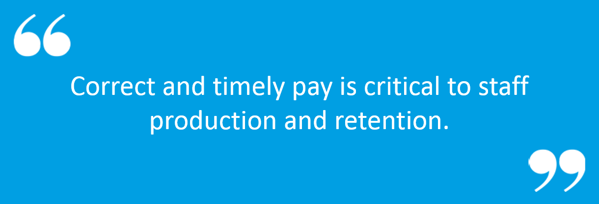 "Client Portal Blue Banner with quote; ""Correct and timely pay is critical to staff productivity and retention"""