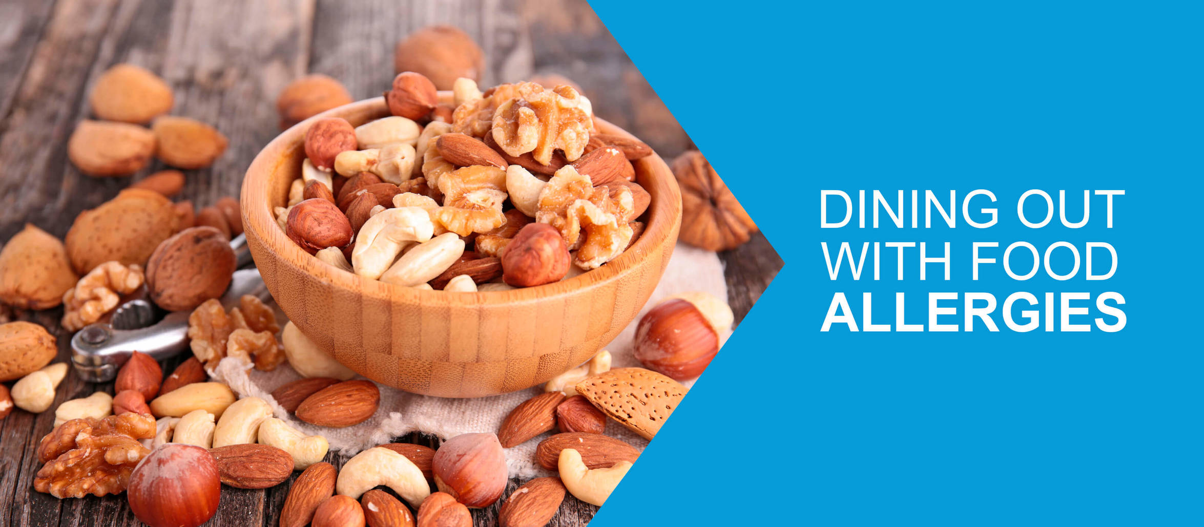 "Spread of assorted nuts in and around a bowl, overlayed with the title "" Dining out with food allergies"""