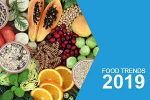 Food Trends 2019 - Ariel shot of lots fruit, seeds, and pulses