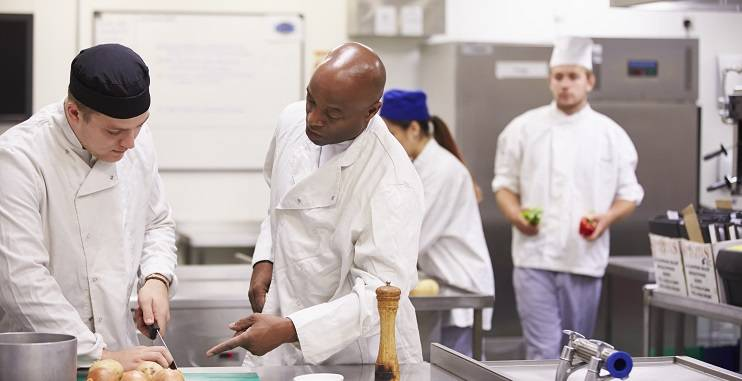 Time saving tips; chefs in the kitchen preparing food