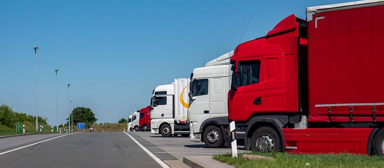 The best truck driver rest stops as chosen by drivers Blog image - A row of parked up Trucks