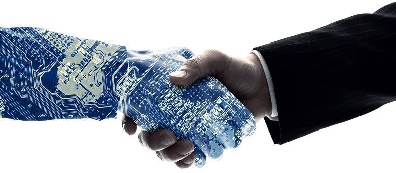Blue Arrow Blog: Future of Work - Top 10 Job Roles of the Future. Picture of a robotic hand shaking a persons hand
