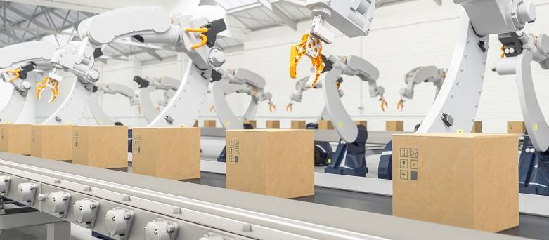 Robots working on a production line