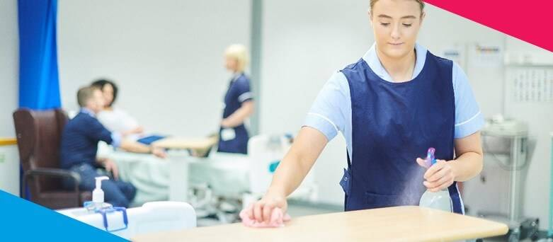 How to become a cleaner career guide?  Female cleaner cleaning a hospital bedside table