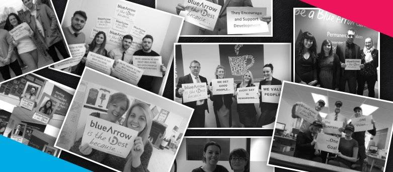 Careers at Blue Arrow: Internal Vacancies. Collage of Blue Arrow Staff holding signs that say why working for Blue Arrow is the best