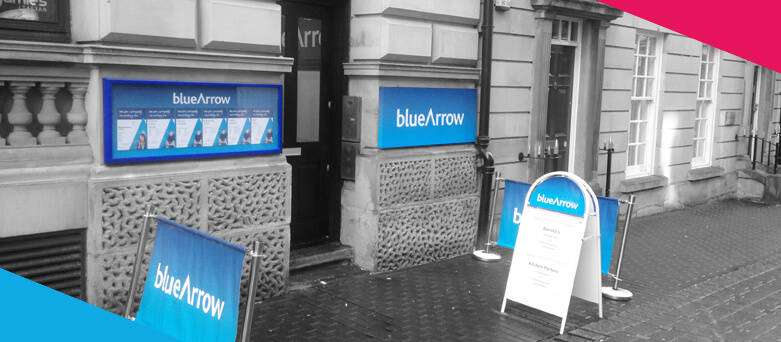 Leeds Blue Arrow Outdoor Sign - 13 Bond Street