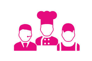 Our Communities  - Pink Icons of a Chef, Customer Servie Advisor and Warehouse Worker