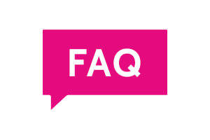 Contact us Pink speech bubble with FAQ  written in white