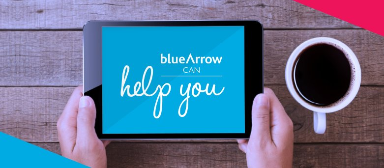 "Tablet with ""Blue Arrow can help you"" on screen"