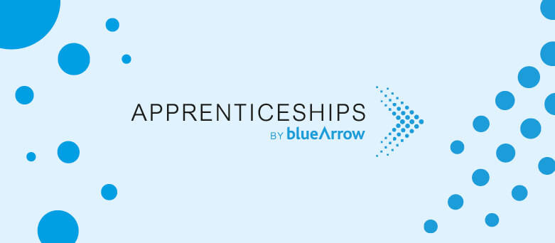 "Light Blue Background with ""Apprenticeships by Blue Arrow"" written in white"