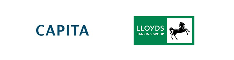 Blue Arrow Call Centre and Customer Services  Clients, Capita logo and updated Lloyds Banking Group Logo
