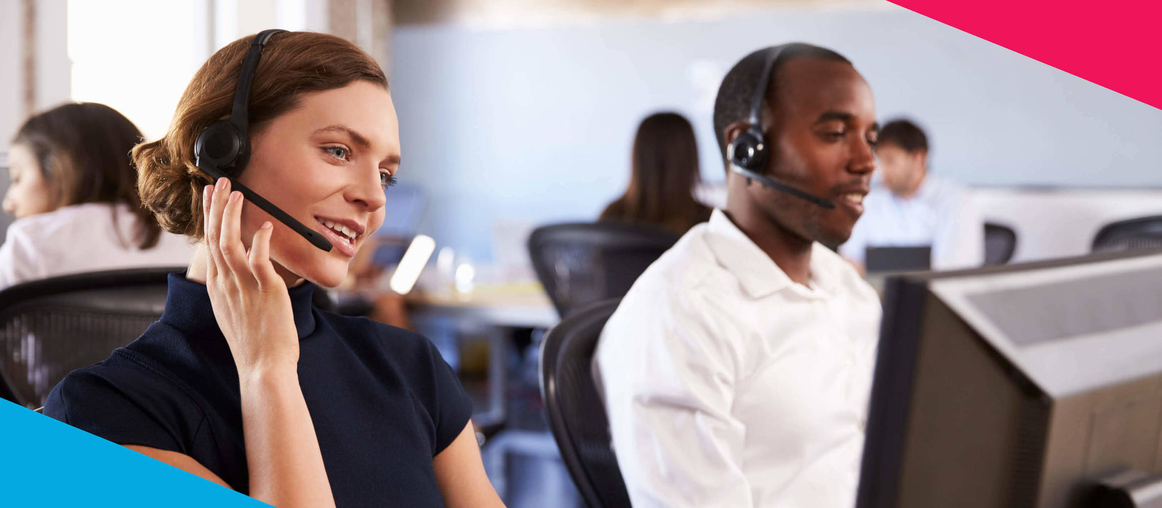 Call Canetre and Customer Services. Male and Female Customer Service Advisors on the phone