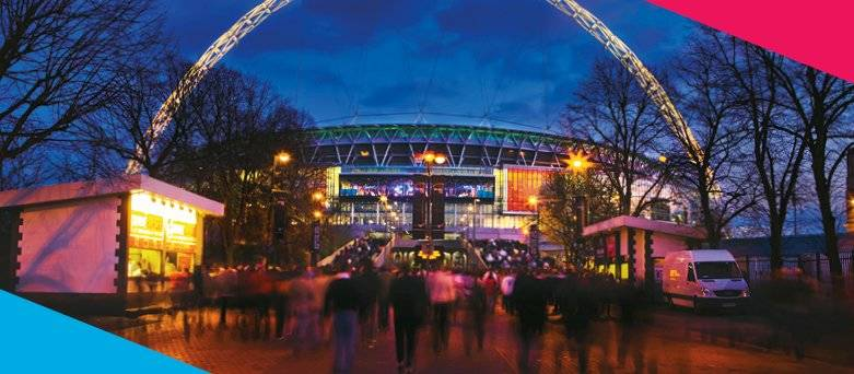 Our Services, Catering and Hospitality. Wembley Stadium at Night