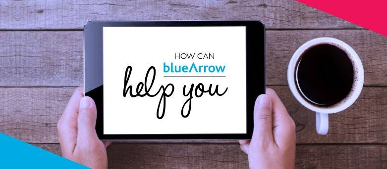 "Tablet with ""How can Blue Arrow help you"" on screen"
