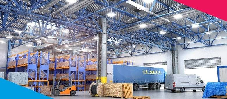 Logistics and Transport - Warehouse Scene, with a Truck, Van, Fork Lift and Pallets
