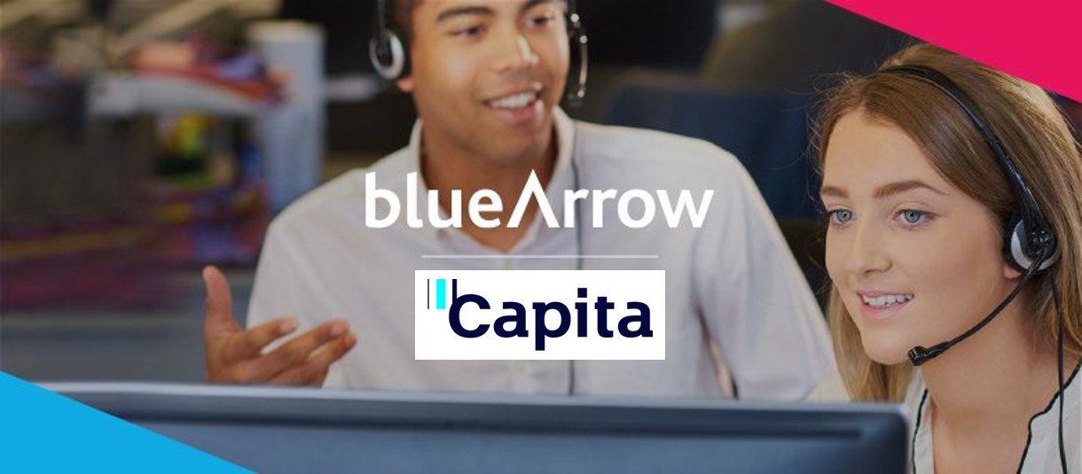Blue Arrow working with Capita. Male and Female Customer Service Advisors with headsets, training.