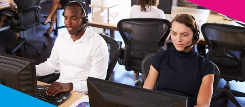 Customer Service Advisor Job Description - Male and Female Customer Service Adviors with on the phone using headsets and using the computuer