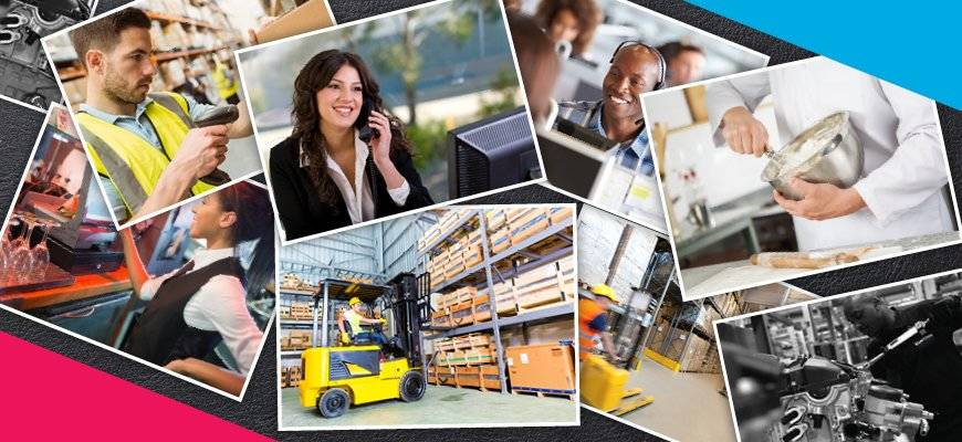 Featured Employers across the 5 sectors Blue Arrow supplies.  Admin and Secretarial, Customer Services, Transport and Logistics, Hospitality and Catering and Warehouse