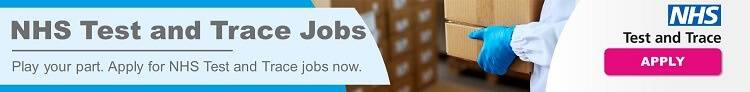 NHS Test and Trace Jobs static banner ad - full colour with logo and 'apply' button