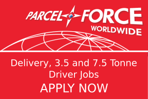 Parcelforce logo with text Delivery, 3.5 and 7.5 Tonne Driver Jobs APPLY NOW