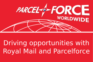 Parcelforce logo with text Driving opportunities with Royal Mail and Parcelforce