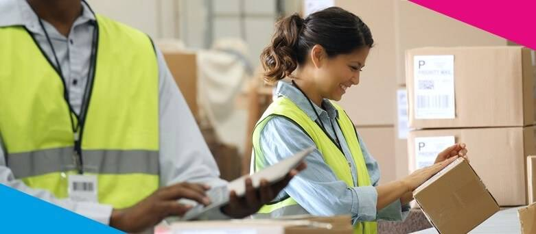 Parcelforce Warehouse worker Job Description - Female warehouse worker sorting packages