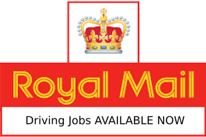Royal Mail logo with text Driving Jobs AVAILABLE NOW