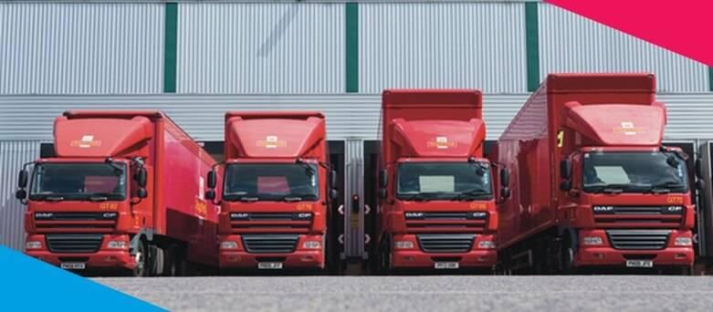 4bfd8ffb2e8484 4 Royal Mail HGV Trucks at distribution centre.
