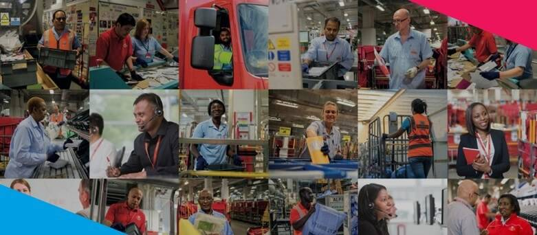 Collage of Royal Mail Job Roles, Mail Sorters, Drivers, Postmen and Postwomen