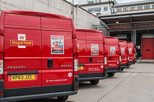 Royal Mail Distribution and Mail Centres - Fleet of Royal Mail Vans at Distribution Centre.