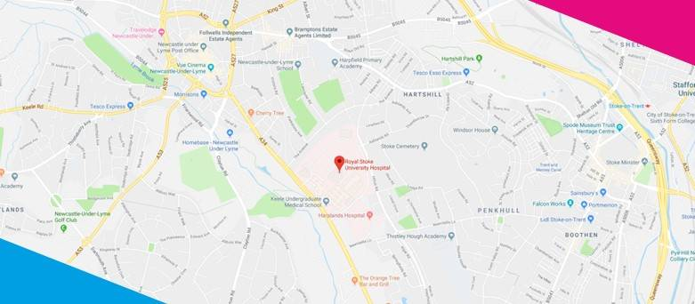 Sodexo Locations  - Google maps with location pin for Sodexo at the Royal Stoke Hospital