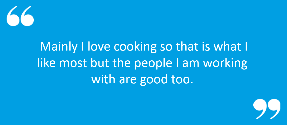 "Working for Sodexo Testimonials - ""Mainly I love cooking so that"