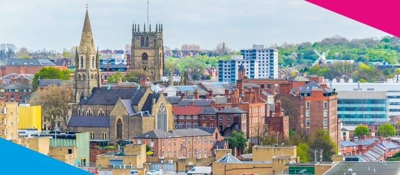 Chef Jobs Nottingham, Aerial view of Nottingham dominated by cathedral, England
