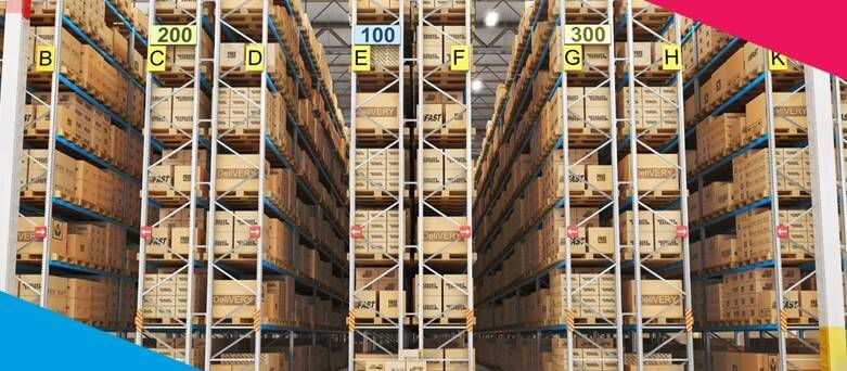 Warehouse Working Envrionment   - Wide shot of a Waerhosue, with lots of isles and boxes
