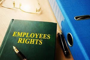 "Your rights as a Warehouse Employee - A green book on the desk with ""EMPLOYEES RIGHTS"" printed on the front"