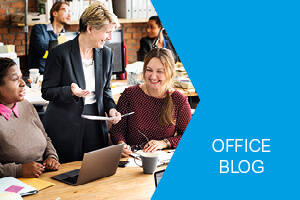 Office blog promotional button linking to full blog library