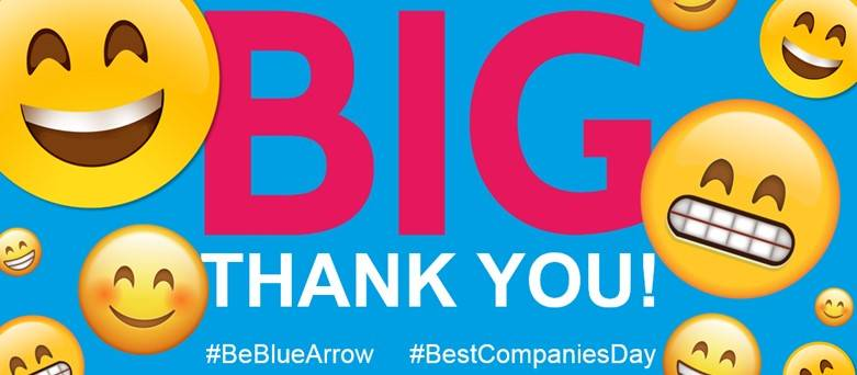 Sunday Times Best Companies to work for 2018, Best Companies Day, Blue Arrow Big Thank you