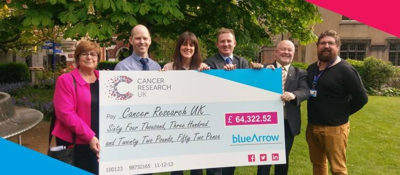 Blue Arrow raises over £64,000 for Cancer Research UK