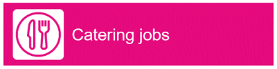"Knife and fork icon with ""Catering Jobs"" as text"