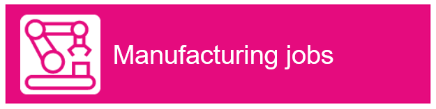 "Assembly line icon with ""Manufacturing jobs"" as text"