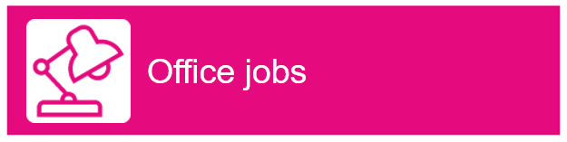 "Desk lamp icon with ""Office Jobs"" as text"