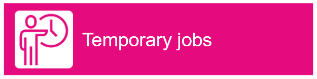 "Icon of a human standing next to a clock. Text ""Temporary jobs"""